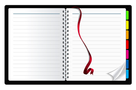 looseleaf: notebook paper with page curl and ribbon bookmark