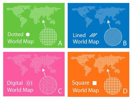 digital world: Map of squares, circles, digital and lines