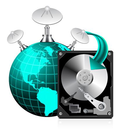 hard drive: HDD and globe world
