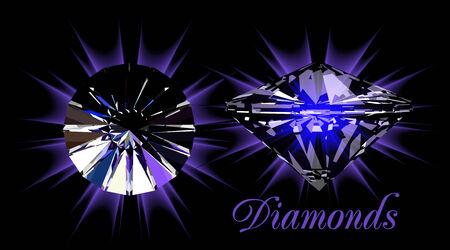 Diamonds on black Stock Vector - 7914290