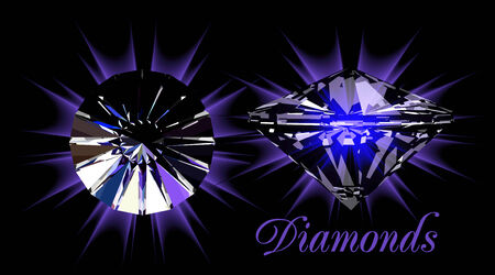 Diamonds on black Stock Vector - 7914290