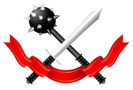 traditional weapon: Sword illustration on white