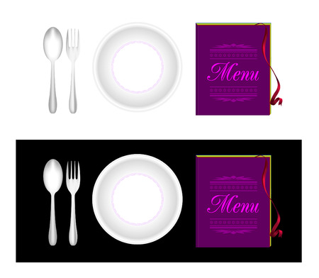 Plate, fork, spoon, menu Vector