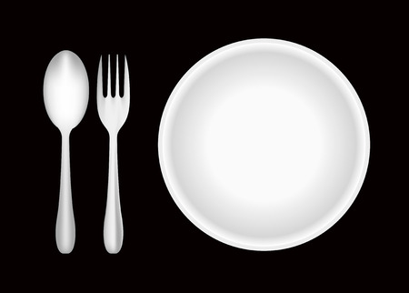 Plate, fork, and spoon  Vector