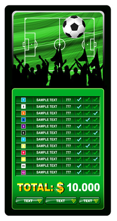 soccer stadium crowd: Soccer fans and scoreboard Illustration