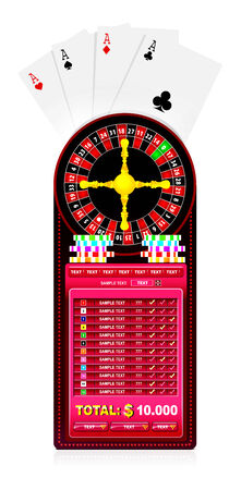 roulette table: a roulette table with various gambling and casino elements Illustration