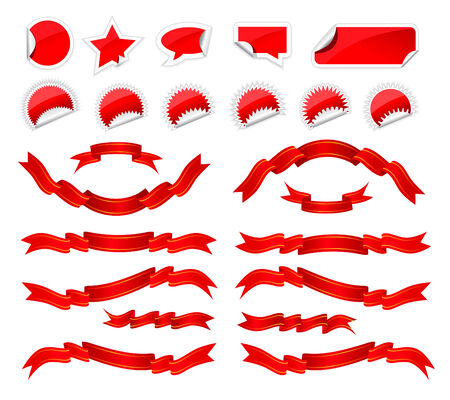 Red stickers and ribbons set on white background Stock Vector - 8090510