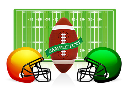 touchdown: american football field, ball and helmet vector