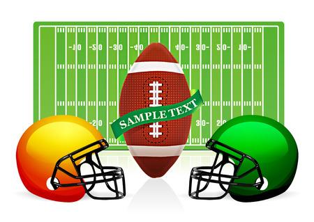 football silhouette: vettore di campo, palla e casco di football americano Vettoriali