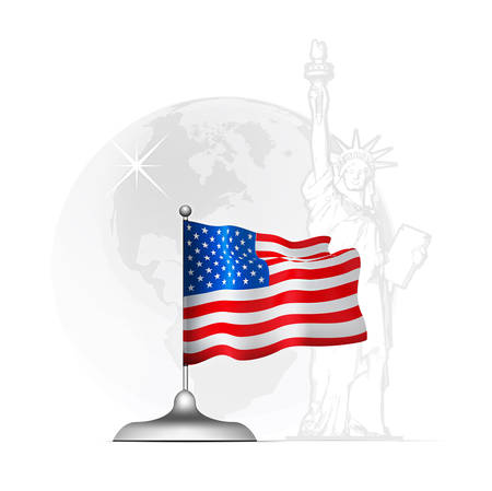 American flag on the stand at the background of the statue of liberty and the globe with a map of America Vector