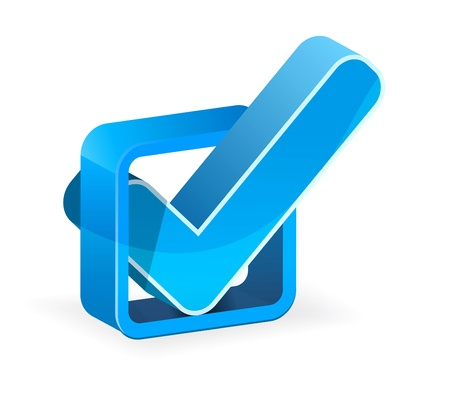 white check mark sign: Blue check box with check mark