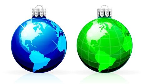 Globe christmas balls Vector