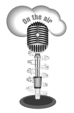 old radio: Antique microphone with music note Illustration