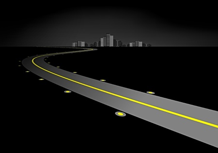 Road in the night Vector