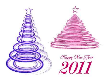 merrily: stylized Christmas tree on white background Illustration