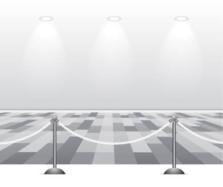 Habitación vacía de blanco con luz sobre fondo gris