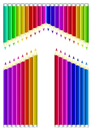 colored pencils: Arrow from colored pencils on white background