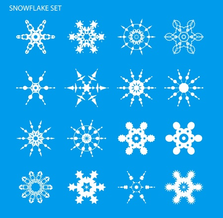 Set with snowflakes on blue background for design Vector