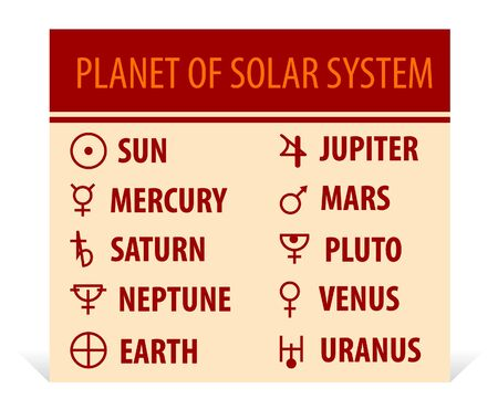 llustration of different astrological symbols - signs of planets Vector