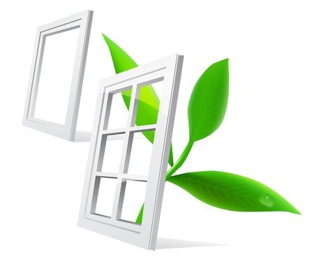 ventana abierta interior: Hoja de ventana Vectores