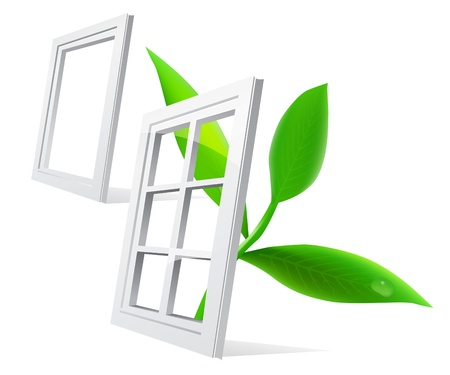 open windows: Window leaf Illustration