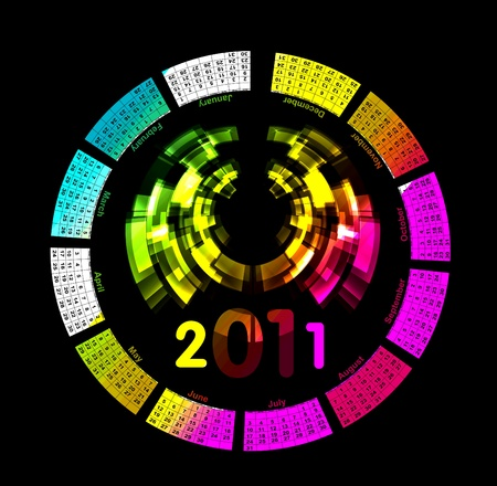 colorful calendar for 2011. Circular design. Week starts on Sund Vector