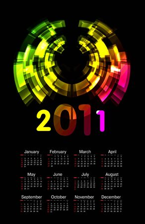 colorful calendar for 2011  Stock Vector - 8443377