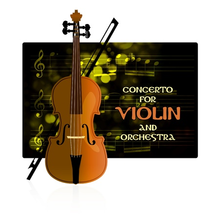 Violin with notes and bow Stock Vector - 8469326