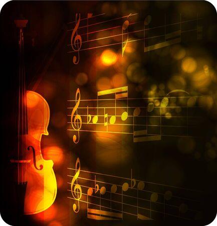 vintage violin silhouette with note Иллюстрация