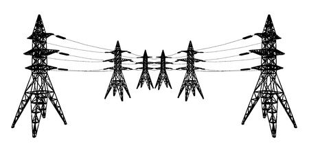 volts: silhouette of Power lines Illustration