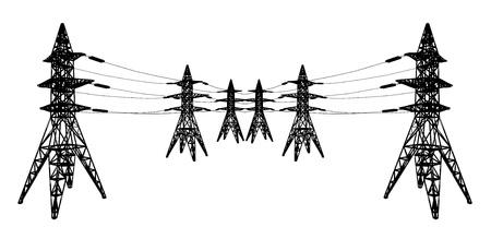 torres de alta tension: silueta de l�neas de alimentaci�n Vectores