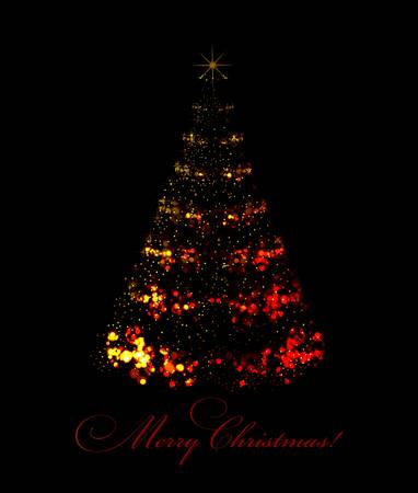 Abstract christmas tree on black background Stock Vector - 8486621