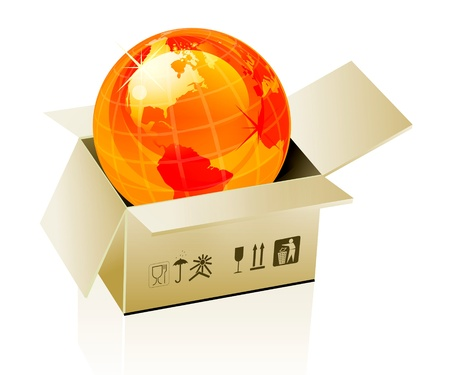 Earth globe in cardboard box Vector