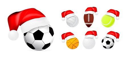 Santa hat on sport balls Vector