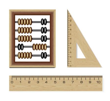 rekensommen: houten abacus en linialen Stock Illustratie