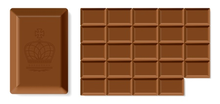 Realistic vector chocolate bar isolated on white background. Easy to rebuild row and column in bar Illustration