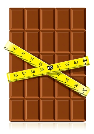 indulgence: Realistic chocolate with measure tape on white background. Diet concept Illustration