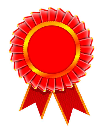 award ribbon rosette: Vector realistic illustration of award rosette isolated on white background