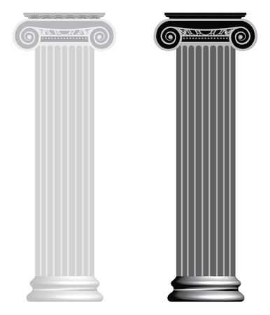 columnas romanas: Columna i�nico aislado en fondo blanco