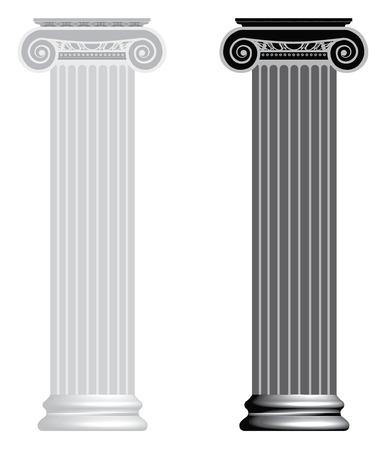Ionische kolom geïsoleerd op witte achtergrond Vector Illustratie