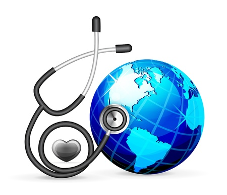 health check: stethoscope and blue earth Illustration