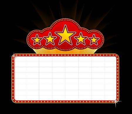 movie sign: Recuadro de pel�cula, el teatro o el casino en blanco
