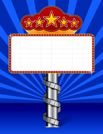 hollywood: Marquee with wraps film strip. Vector illustration