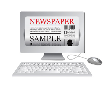 lately news: Online newspaper. Computer and news website Illustration
