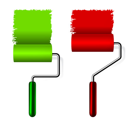 decorando: Pincel de rodillos de pintura con pintura sobre fondo blanco