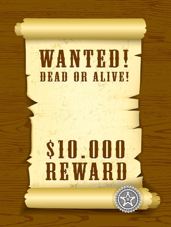Poster Wanted dead or alive Vector