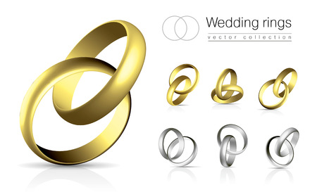 gold rings: Wedding rings collection isolated on white background with shadow and reflection Illustration
