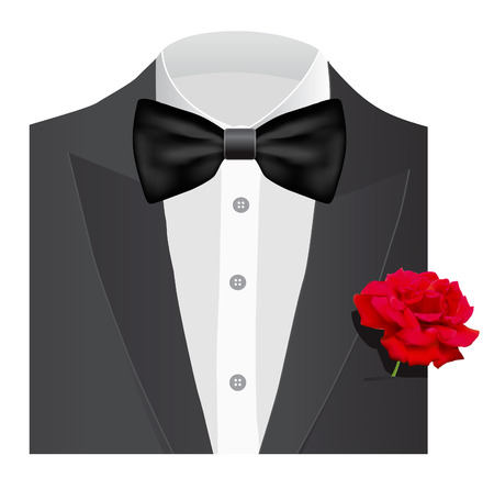 coat and tie: Bow tie with red rose, illustration Illustration