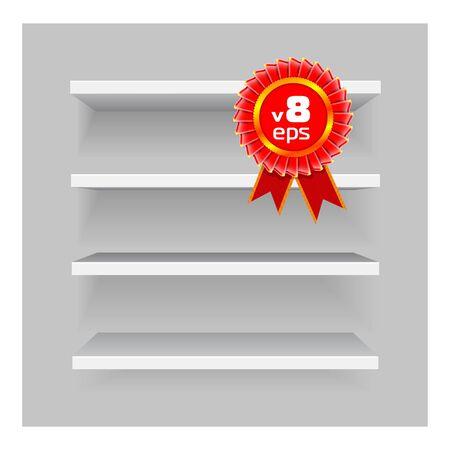office products: Estantes sobre fondo gris Vectores