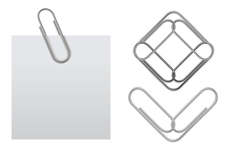 sticky note with paper clip Stock Vector - 8885801